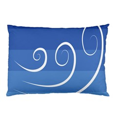 Ventigender Flags Wave Waves Chevron Leaf Blue White Pillow Case by Mariart