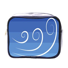 Ventigender Flags Wave Waves Chevron Leaf Blue White Mini Toiletries Bags by Mariart