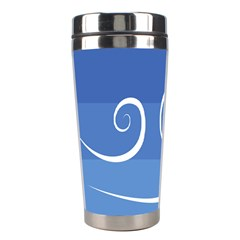 Ventigender Flags Wave Waves Chevron Leaf Blue White Stainless Steel Travel Tumblers by Mariart