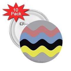 Wave Waves Chevron Sea Beach Rainbow 2 25  Buttons (10 Pack)