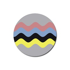 Wave Waves Chevron Sea Beach Rainbow Rubber Coaster (round)  by Mariart
