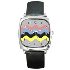 Wave Waves Chevron Sea Beach Rainbow Square Metal Watch