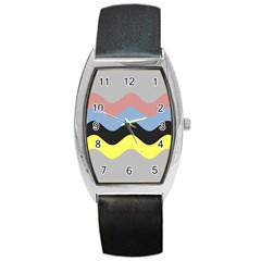 Wave Waves Chevron Sea Beach Rainbow Barrel Style Metal Watch by Mariart
