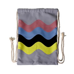 Wave Waves Chevron Sea Beach Rainbow Drawstring Bag (small) by Mariart