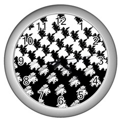 Transforming Escher Tessellations Full Page Dragon Black Animals Wall Clocks (silver)