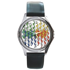 Rainbow Fish Round Metal Watch by Mariart