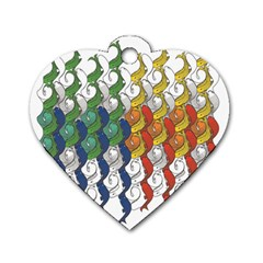 Rainbow Fish Dog Tag Heart (one Side) by Mariart