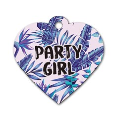 Palm Leaves Party Girl Dog Tag Heart (one Sided)
