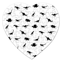 Dinosaurs Pattern Jigsaw Puzzle (heart) by Valentinaart