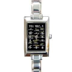 Dinosaurs Names Rectangle Italian Charm Watch