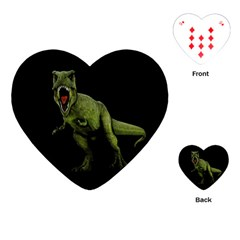 Dinosaurs T Rex Playing Cards (heart)  by Valentinaart