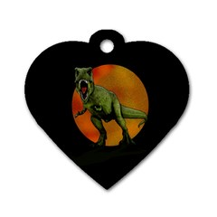 Dinosaurs T Rex Dog Tag Heart (one Side)