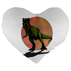 Dinosaurs T Rex Large 19  Premium Flano Heart Shape Cushions by Valentinaart