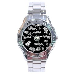 Aztecs Pattern Stainless Steel Analogue Watch by Valentinaart