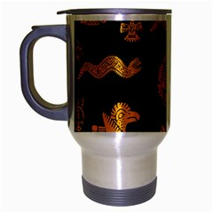 Aztecs Pattern Travel Mug (silver Gray) by Valentinaart