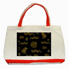 Aztecs Pattern Classic Tote Bag (red) by Valentinaart