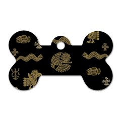 Aztecs Pattern Dog Tag Bone (two Sides) by Valentinaart