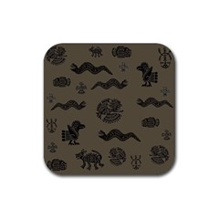 Aztecs Pattern Rubber Square Coaster (4 Pack)