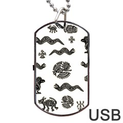 Aztecs Pattern Dog Tag Usb Flash (two Sides) by Valentinaart