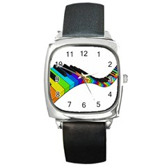 Rainbow Piano  Square Metal Watch