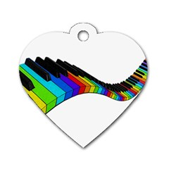 Rainbow Piano  Dog Tag Heart (one Side) by Valentinaart