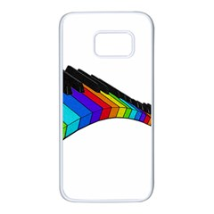 Rainbow Piano  Samsung Galaxy S7 White Seamless Case by Valentinaart