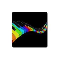 Rainbow Piano  Square Magnet by Valentinaart