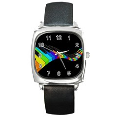 Rainbow Piano  Square Metal Watch by Valentinaart
