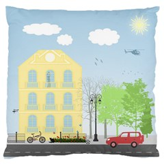 Urban Scene Large Flano Cushion Case (one Side) by linceazul