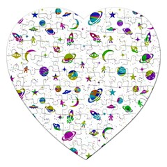 Space Pattern Jigsaw Puzzle (heart) by ValentinaDesign