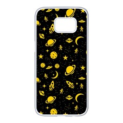 Space Pattern Samsung Galaxy S7 Edge White Seamless Case by ValentinaDesign