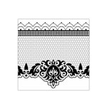Transparent Lace Decoration Satin Bandana Scarf Front