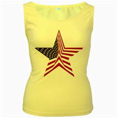 A Star With An American Flag Pattern Women s Yellow Tank Top