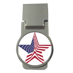 A Star With An American Flag Pattern Money Clips (round)  by Nexatart