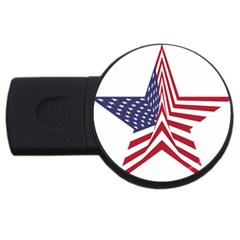 A Star With An American Flag Pattern Usb Flash Drive Round (2 Gb) by Nexatart