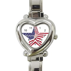 A Star With An American Flag Pattern Heart Italian Charm Watch by Nexatart