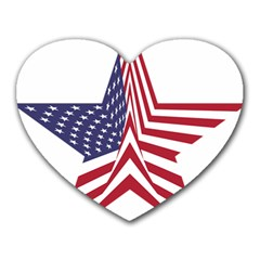 A Star With An American Flag Pattern Heart Mousepads