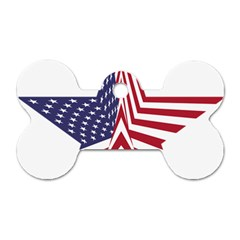 A Star With An American Flag Pattern Dog Tag Bone (two Sides)