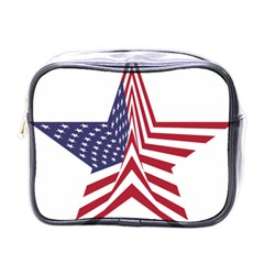 A Star With An American Flag Pattern Mini Toiletries Bags by Nexatart