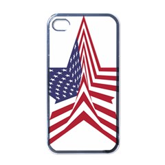 A Star With An American Flag Pattern Apple Iphone 4 Case (black) by Nexatart