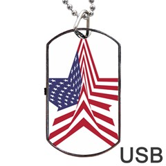 A Star With An American Flag Pattern Dog Tag Usb Flash (one Side) by Nexatart
