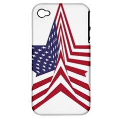 A Star With An American Flag Pattern Apple Iphone 4/4s Hardshell Case (pc+silicone) by Nexatart