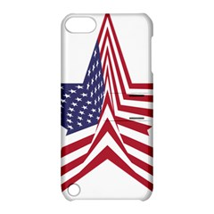 A Star With An American Flag Pattern Apple Ipod Touch 5 Hardshell Case With Stand