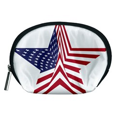 A Star With An American Flag Pattern Accessory Pouches (medium)  by Nexatart