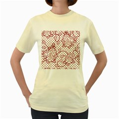 Transparent Decorative Lace With Roses Women s Yellow T Shirt by Nexatart