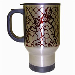 Transparent Decorative Lace With Roses Travel Mug (silver Gray) by Nexatart