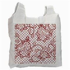 Transparent Decorative Lace With Roses Recycle Bag (one Side) by Nexatart