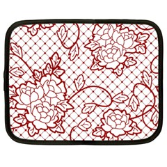 Transparent Decorative Lace With Roses Netbook Case (xl)  by Nexatart