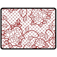 Transparent Decorative Lace With Roses Fleece Blanket (large)