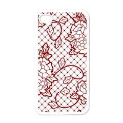 Transparent Decorative Lace With Roses Apple Iphone 4 Case (white)